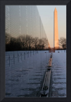 Vietnam Veterans Memorial Wall and Washington Monu