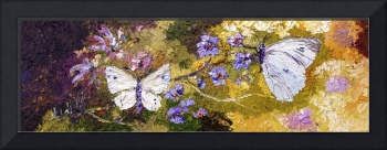 White Butterflies Impressionist Oil Painting