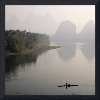Lone Boater, Li River, Yangshuo County, Guilin, Gu