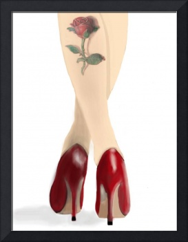 Lady with the red rose tattoo