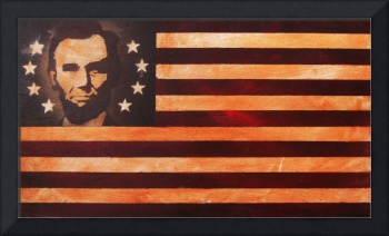 Abraham Lincoln Antique American Flag
