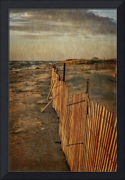 Snow Fence And Lake Michigan