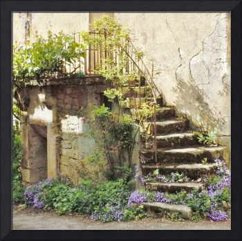 European Staircase With Flowers