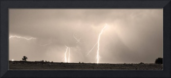 Thunderstorm on the Plains Sepia Panorama