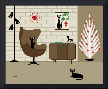 Christmas Room with Black Cats