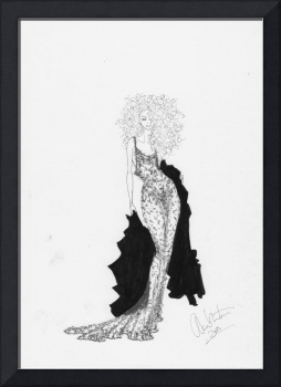 Fashion Art Black Lace Dress Illustration