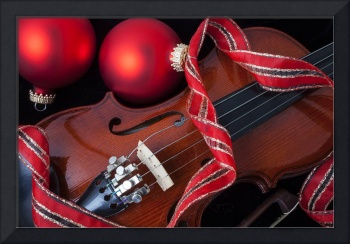 Violin and red ornaments
