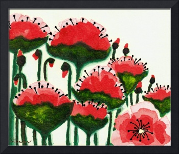 Expressive Wild Red and Pink Poppy Field