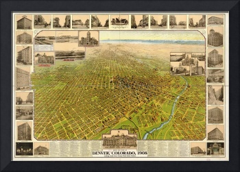 1908 Denver, CO Bird's Eye View Panoramic Map