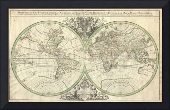 Map of the World Hemisphere Projection 2 by Sanson