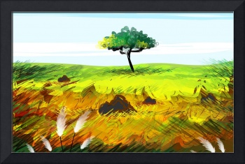 Digital painting of a tree in a landscape