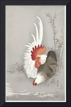 Rooster and Hen by Ohara Koson