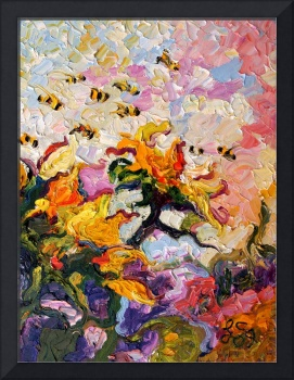 Sunflowers & Bees Oil Painting by Ginette Callaway