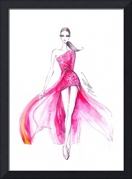 Pink couture dress - fashion sketch