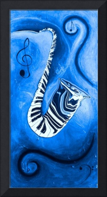 Piano Keys in a Saxophone Blue Music In Motion