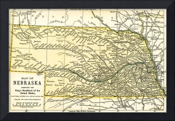 Nebraska Antique Map 1891