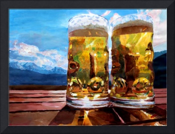 two beers with mountains