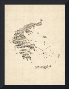Old Sheet Music Map of Greece Map