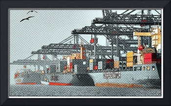 Container ships in port