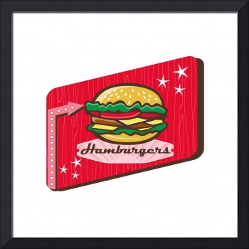 Retro 1950s Diner Hamburger Sign