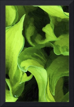 Green Leaves Abstract Oil Painting