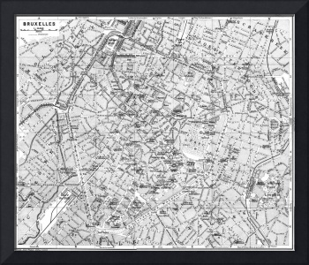 Vintage Map of Brussels (1905) BW