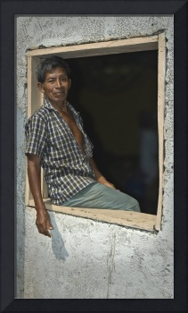 Worker in the window, Guatemala