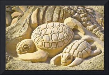 Turtle Sand Castle Sculpture on the Beach 999