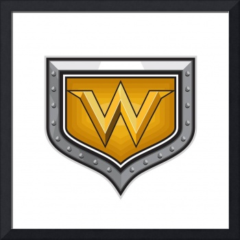 Gold Letter W Shield Retro