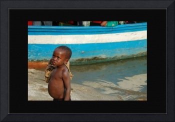 Boy At Boat On Lake Kivu