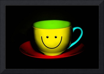 Funny Wall Art - Smiley Colourful Teacup