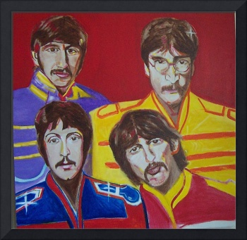 Original Beatles Mural on wood canvas