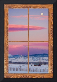 Colorado Moon Sunrise Barn Wood Window View