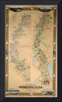 Map depicting plantations on the Mississippi River