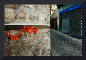 Dried Red Peppers On A Turkish Street