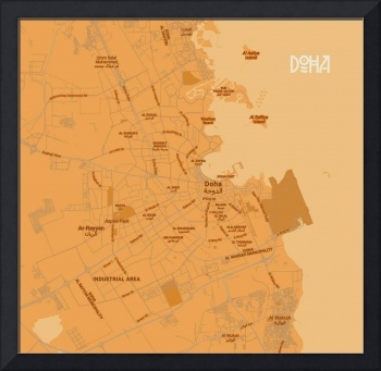 Minimalist Modern Map of Doha, Qatar 5A