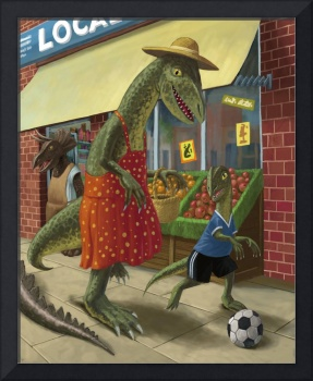 dinosaur mum with son out shopping