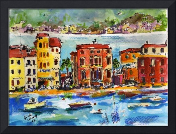 Italian Riviera Sestri Levante Watercolor