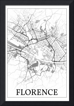 Florence, Italy, city map print.
