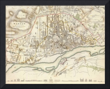 Vintage Map of Warsaw Poland (1831)