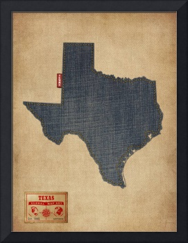 Texas Map Denim Jeans Style