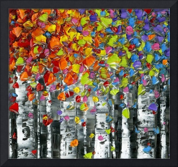 Birch Trees Abstract Multicolored Square Art