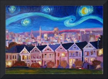 Starry Night with Painted Ladies San Francisco wit