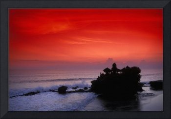 Indonesia, Bali, Taneh Lot Temple Silhouetted At S