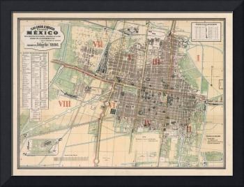 Vintage Map of Mexico City (1886)