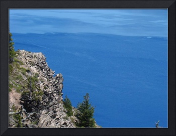 Crater Lake Oregon Blue Water Rock Cliff Pines