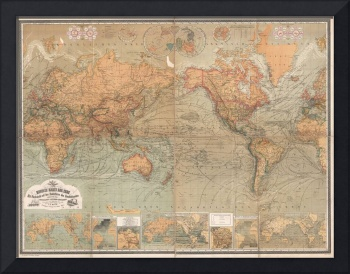 Vintage Map of The World (1870)