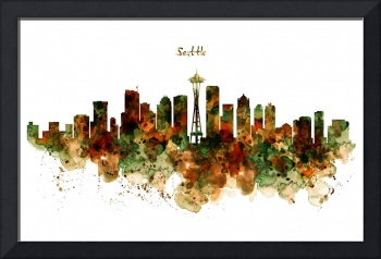 Seattle Watercolor Skyline Poster