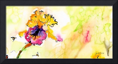 Bearded Iris in Yellow and Ink One