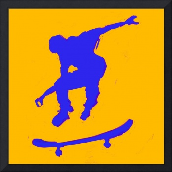 Skateboarder 3 . orange blue (c)